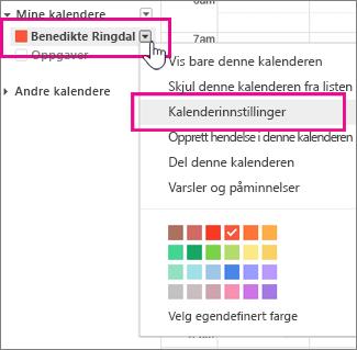 Innstillinger for Google-kalender