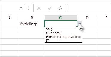 Et eksempel på en rullegardinliste i Excel