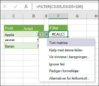 #CALC! feil - tom matrise