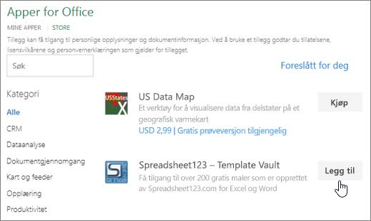 Skjermbildet viser Office-tillegg siden der du kan velge eller søke etter et tillegg for Excel.