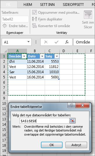 Endre størrelse på tabellen