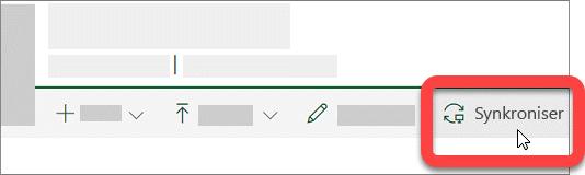 Skjermbilde som viser synkroniseringsknapp i et SharePoint-bibliotek.