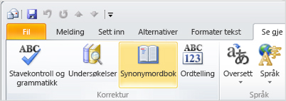 Ikonet for synonymordbok på Outlook-båndet