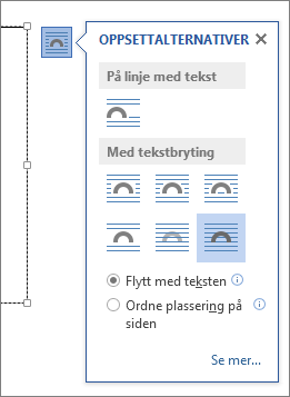 Alternativer for tekstboksoppsett