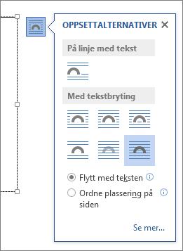 Alternativer for tekstboksoppsett