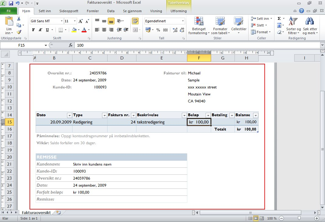 Type the data required for the billing statement.
