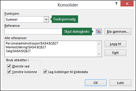 Datakonsolideringsdialogboks