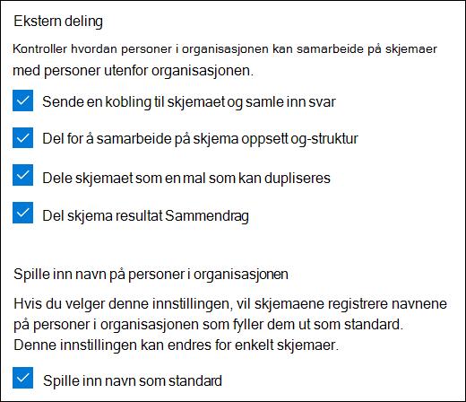 Samarbeids innstilling for Microsoft Forms
