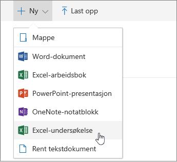 Ny-meny, kommando for Excel-undersøkelse