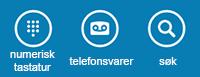 Bruk ikonene nederst på skjermen for å vise telefontastaturet, sjekke telefonsvareren eller søke etter kontakter