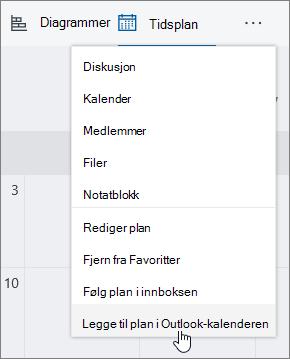 Skjerm bilde av Planner-menyen med Legg til plan i Outlook kalender valgt.