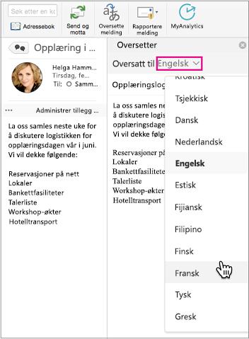 Bruk rullegardinlisten til å velge hvilket språk du skal oversette meldingen til