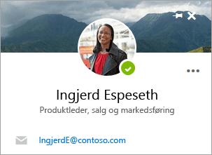 Et skjermbilde av kontaktkortet på Personer-siden.