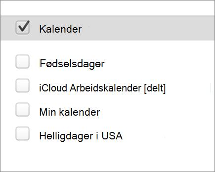 iCloud-kalenderen i Outlook 2016 for Mac