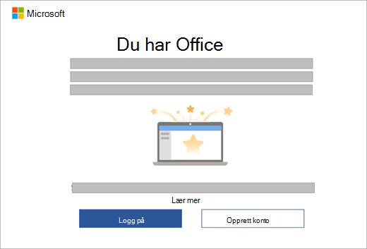 Viser dialogboksen som vises når du åpner en Office-app på en ny enhet som omfatter en Office-lisens.