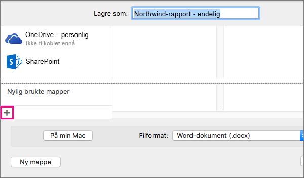 Hvis du vil legge til en nettbasert tjeneste, klikker du plusstegnet nederst i den venstre kolonnen i dialogboksen Lagre som.