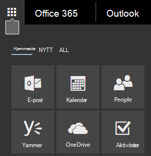 Startprogrammet for apper i Office 365 som viser fliser for E-post, Kalender, Personer, Yammer og OneDrive