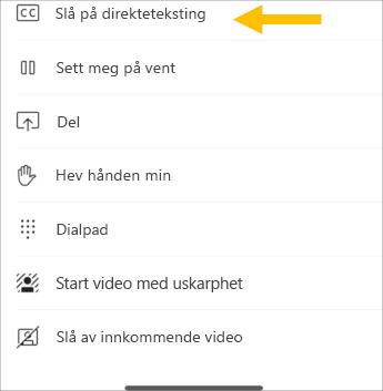 Slå på direkte teksting – skjerm bilde for mobil telefon