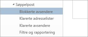 Et skjermbilde av blokkerte avsendere på Alternativer-menyen