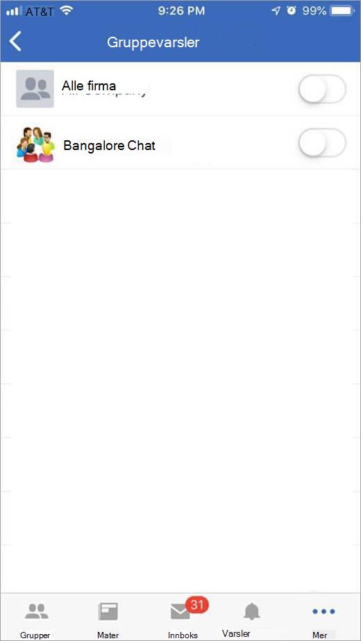 iOS Yammer-side for valg av grupper for å motta varsler fra