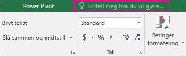 Boksen Fortell meg det på Excel 2016-båndet