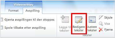 Kategorien Avspilling under Videoverktøy med Edit Captions uthevet