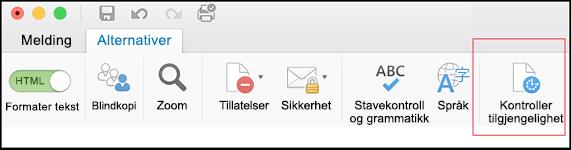 Skjermbilde av brukergrensesnittet i Outlook for å åpne Tilgjengelighetskontroll