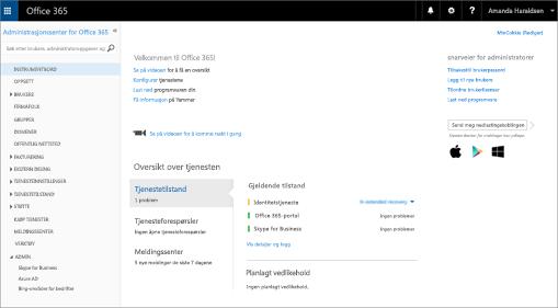 Et eksempel på hvordan administrasjonssenteret for Office 365 ser ut når du har en Skype for Business Online-plan.