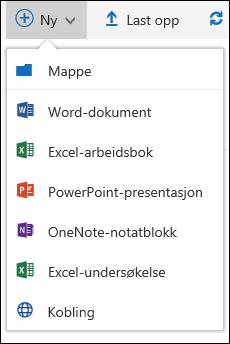 Opprette en ny fil i et dokumentbibliotek i Office 365