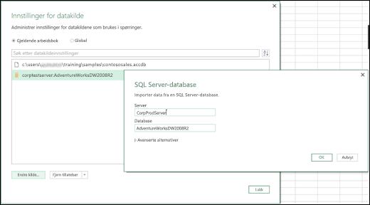 Excel Power BI datakildeinnstillingerforbedringer