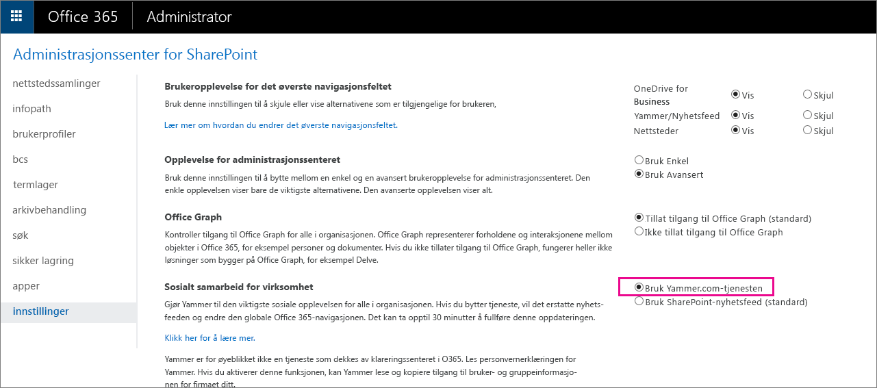 Administrasjonssenteret for SharePoint som viser brukerens Yammer.com-tjenesteinnstilling