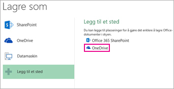 Alternativet Lagre til OneDrive