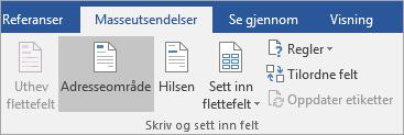 Som en del av utskrifts fletting i Word velger du Address Block i skrive & sett inn felt-gruppen på fanen masse utsendelser.
