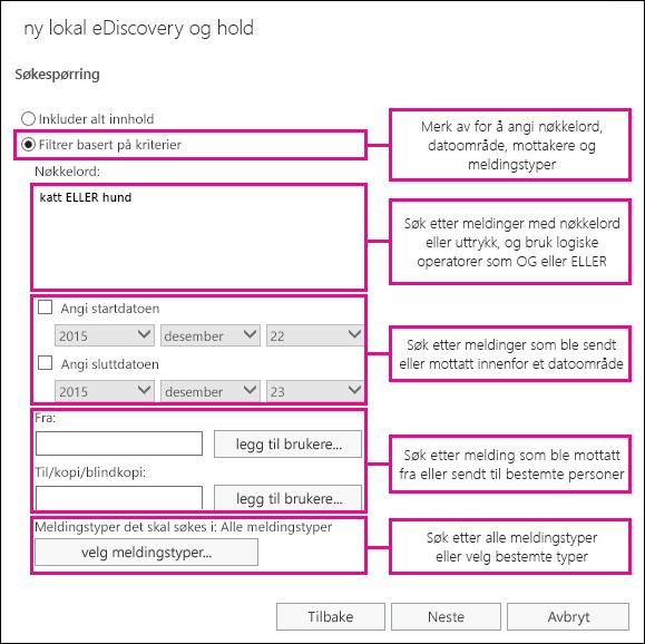 Bygge et søk basert på vilkår som for eksempel nøkkelord, datoområde, mottakere og meldingstyper