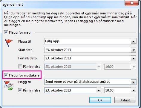 Avmerkingsboks for kommandoen Flagg for mottakere i dialogboksen Egendefinert