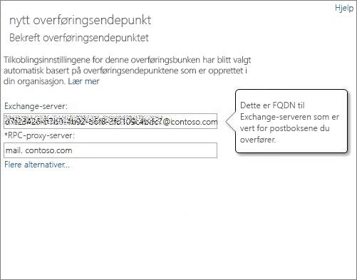 Bekreftet tilkobling for Outlook overalt-endepunkt.