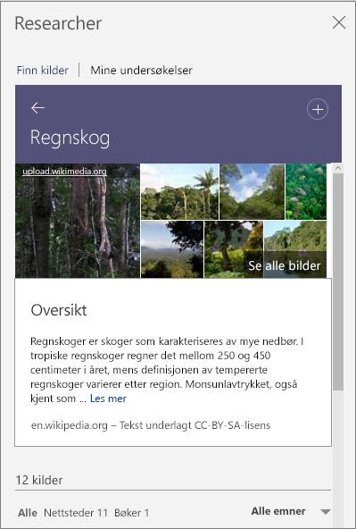 Researcher-rute som viser søkeresultater om regnskogen