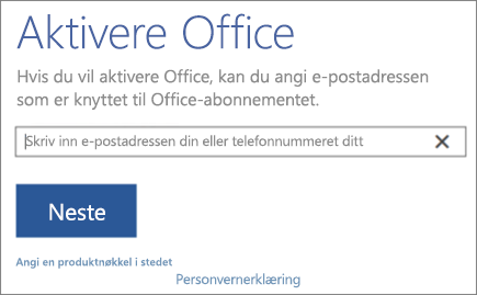 Viser Aktiver Office-vinduet