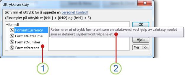 IntelliSense-rullegardinlisten og et hurtigtips.