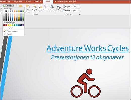 Bruke verktøyet Grafikkfyll til å endre fargen på SVG-bilder