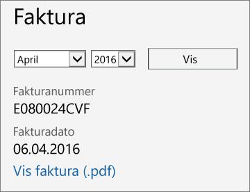 Skjermbilde av fakturadelen på fakturadetaljersiden i administrasjonssenteret for Office 365.