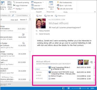 Outlook Social Connector etter visning