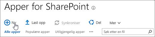 Appkatalogen SPO i SharePoint med Ny-knappen uthevet