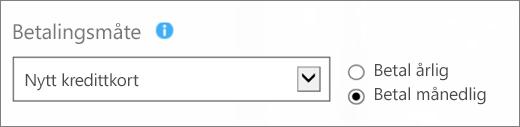 Skjermbilde av delen «Betalingsmåte» på siden «Hvordan vil du betale?» med «Nytt kredittkort»- og «Betal månedlig»-alternativene valgt.
