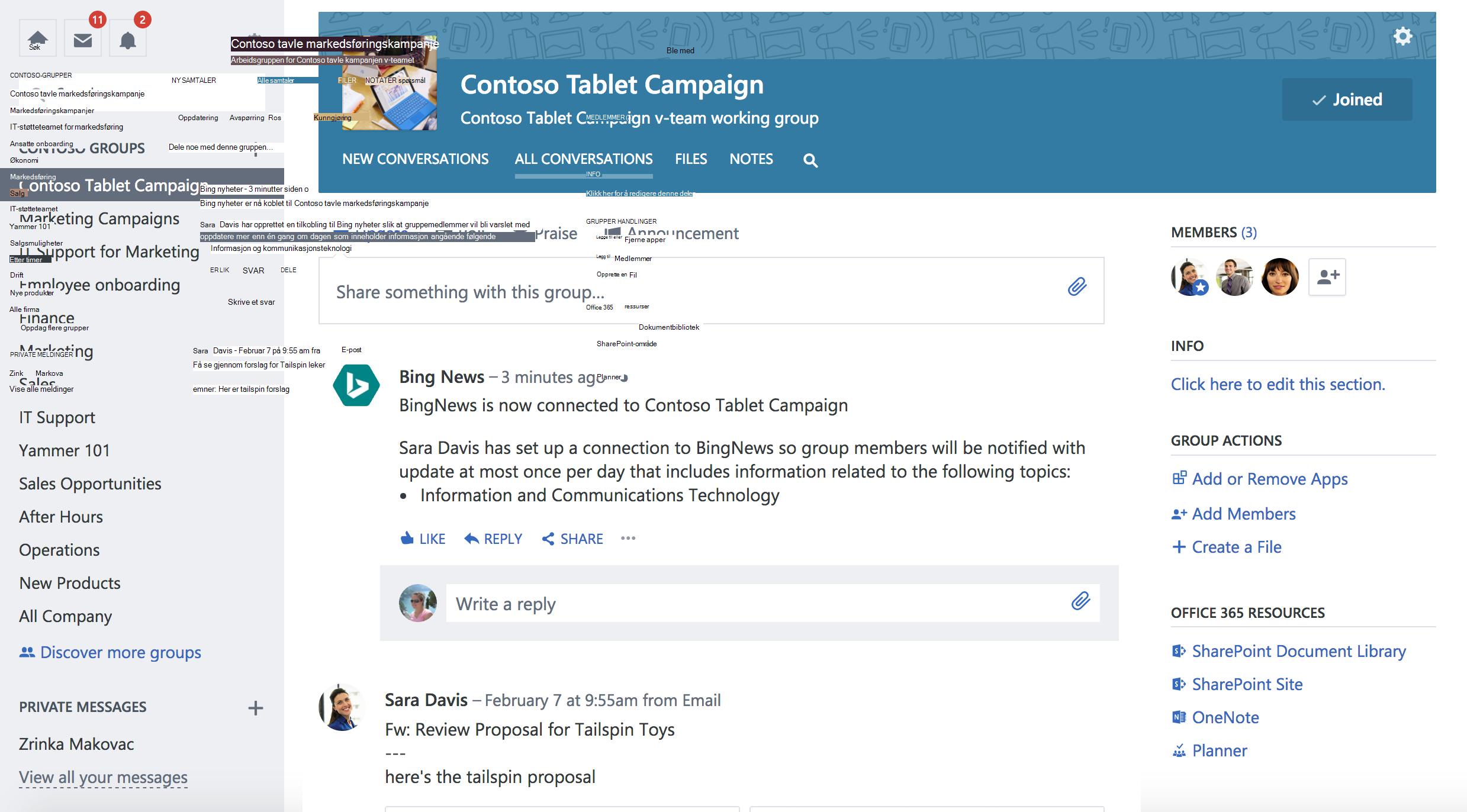 Skjermbilde av Office 365 koblet Yammer-gruppe med ny tilkobling