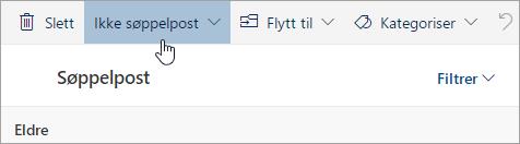 Et skjermbilde av Ikke søppelpost-knappen