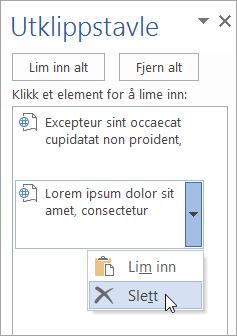 Viser sletting av et kopiert element fra utklippstavlen
