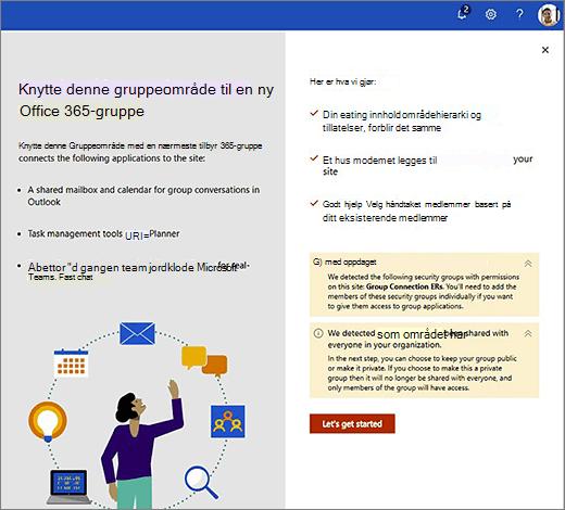 Dette bildet viser det første skjerm bildet i den nye opprettelses vei viseren for Office 365.