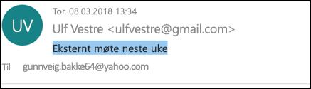 Du kan redigere Emne-linjen i en mottatt melding.
