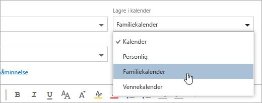 Et skjermbilde av lagre på rullegardinmenyen for kalender